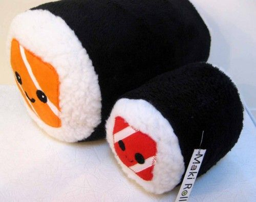 """Title: LARGE Sushi Plush Pillow - MAKI ROLL.  Cute sushi roll in a large huggable size...over a foot long and 25"""" - 26"""" all the way around!  A big pillow roll that's stackable cute!  The sushi pillow"""