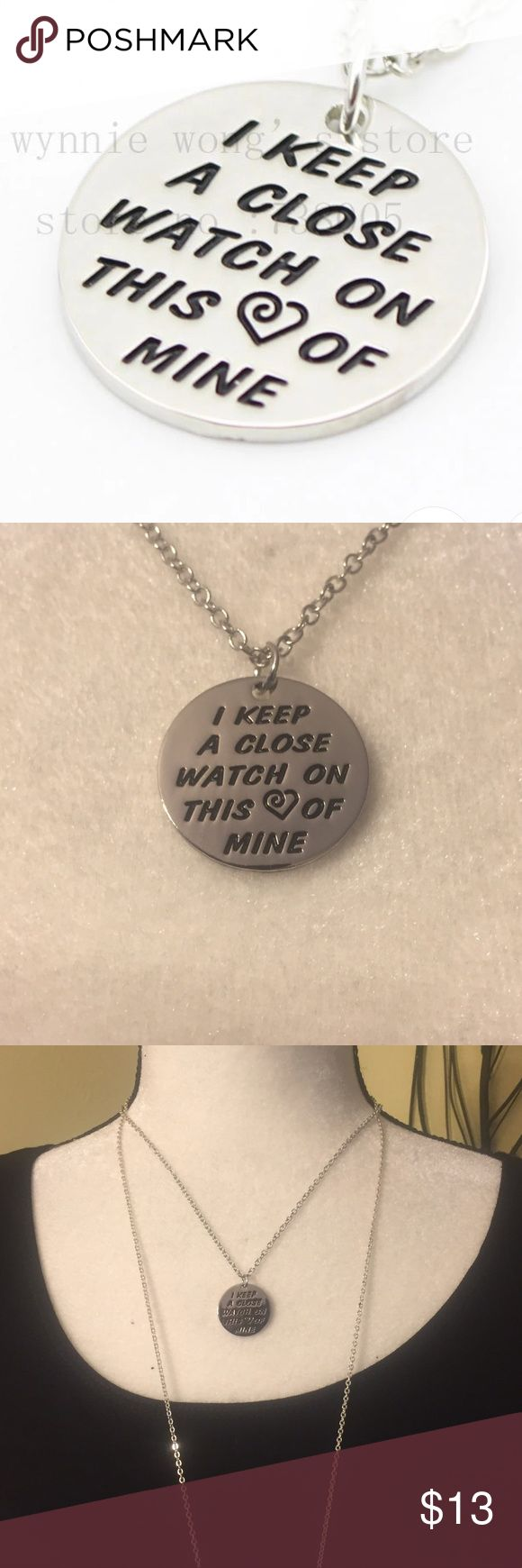 "🆕 JOHNNY CASH INSPIRED NECKLACE 🆕 Brand New Boutique Necklace!!! Silver fashion necklace stamped with "" I keep a close watch on this ❤️ of mine"". Chain measures 45cm and pendent measures 2.2 cm. Jewelry Necklaces"