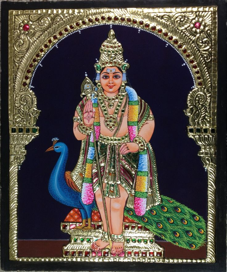 Tanjore Kartikeya Painting Handmade Indian Thanjavur Murugan Wall Decor Gold Art