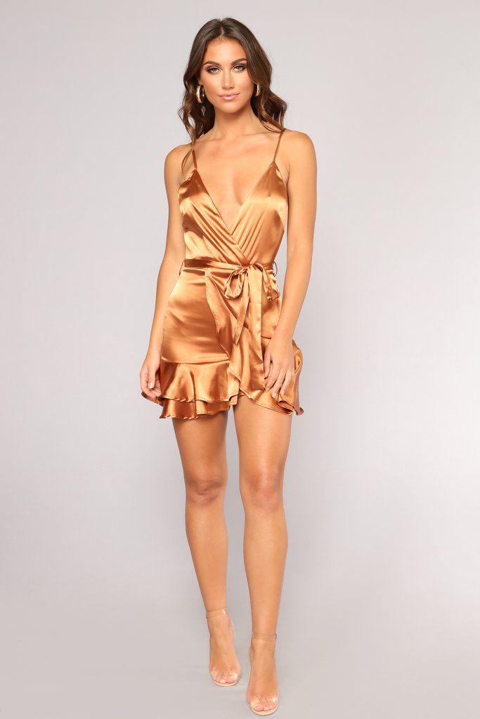 Saige Satin Dress - Copper  92fefb00130a