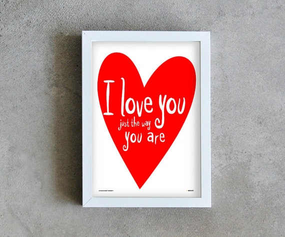 I love you art print love poster red heart by PrintsByStellaChili, €12.00