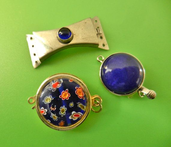 1950s Venetian CLASPS 3 Pcs silver and  Millefiori by RAKcreations