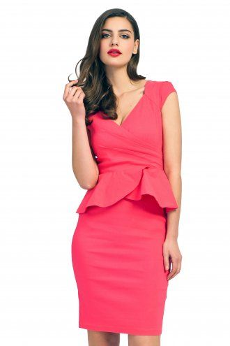 Paper Dolls Coral Cap Sleeve Cross Over Peplum Dress