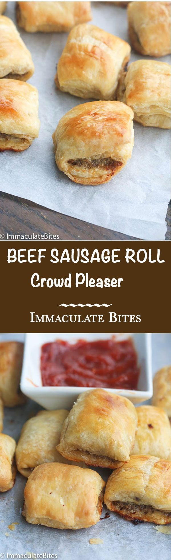Beef sausage rolls made with puff pastry - Quick, Easy and a Crowd Pleaser . Great as a snack , appetizer or Breakfast .