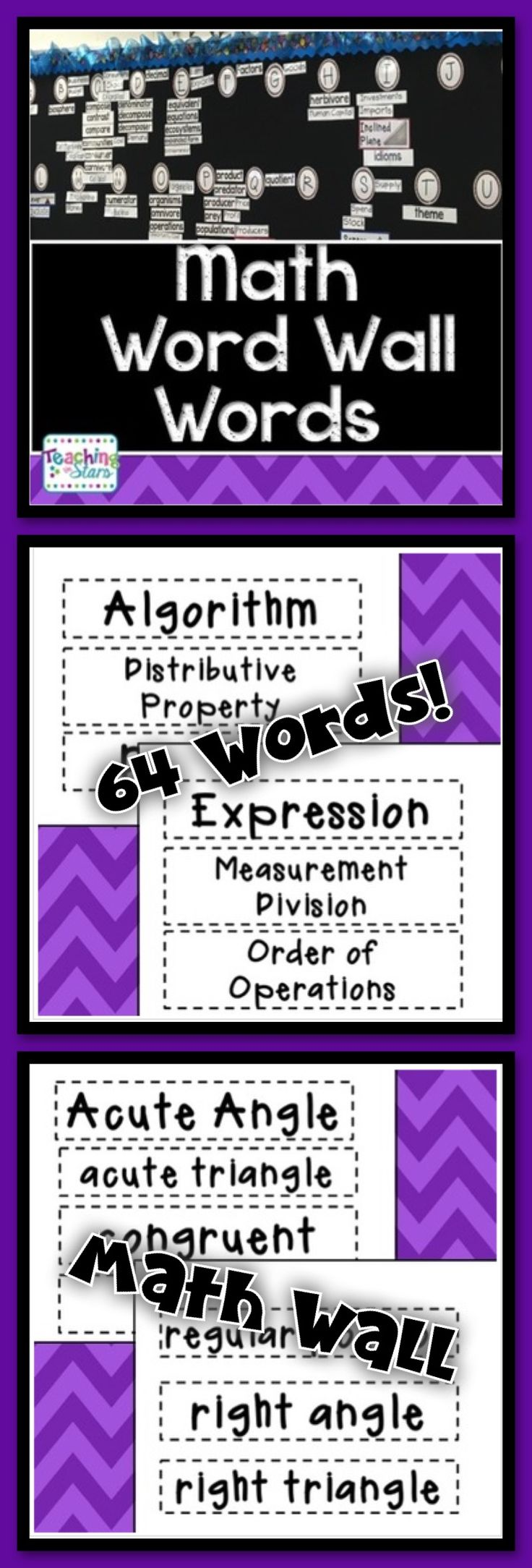 Math Vocabulary Word Wall Words will help students become familiar with math vocabulary as they learn content.