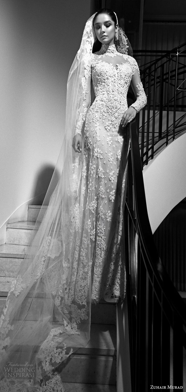 Zuhair Murad fall 2017 bridal (vanina) high neck illusion long sleeves trumpet lace wedding dress mv elegant
