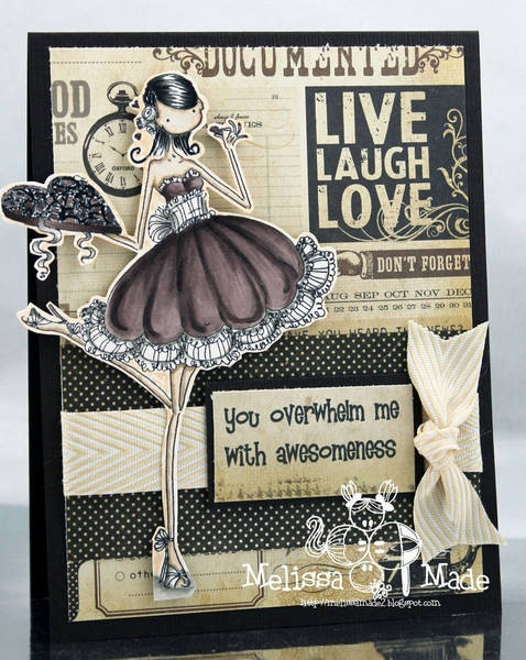 Copic card using the Stamping Bella - Uptown Girl Catherine Nibbling Chocolate stamp.  Made by Melissa