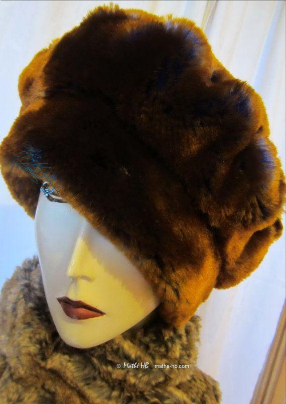 chapeau chic hiver bonnet béret marron cuivre et par MatheHBcouture