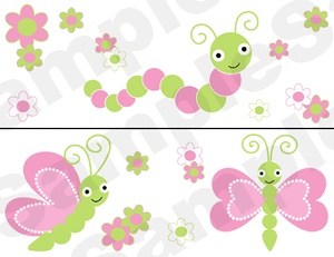 BUTTERFLY DRAGONFLY GREEN PINK BUG BABY GIRL NURSERY WALL BORDER STICKERS DECALS
