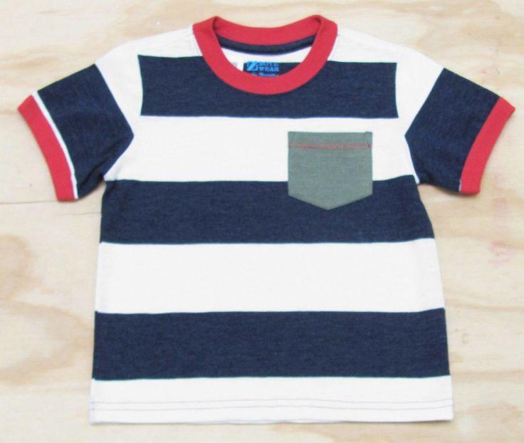 Z Boyz Wear by Nannette Boys Navy Blue and White Stripe Pocket T-shirt Short Sleeve Tee Shirt sizes 2T to 7 $9.95
