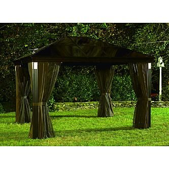 grand resort 10 ft x 14 ft lighted hardtop gazebo outdoor