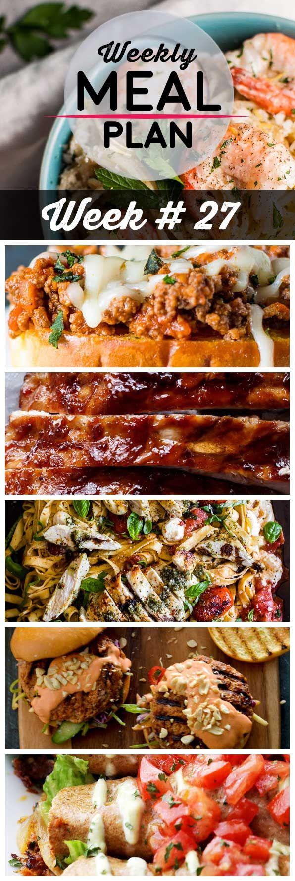 Weekly Meal Plan #27! A meal plan to help you keep things tasty each week, including creamy lemon shrimp spaghetti, Italian sloppy joe sandwiches, slow cooker BBQ ribs, and more!   HomemadeHooplah.com