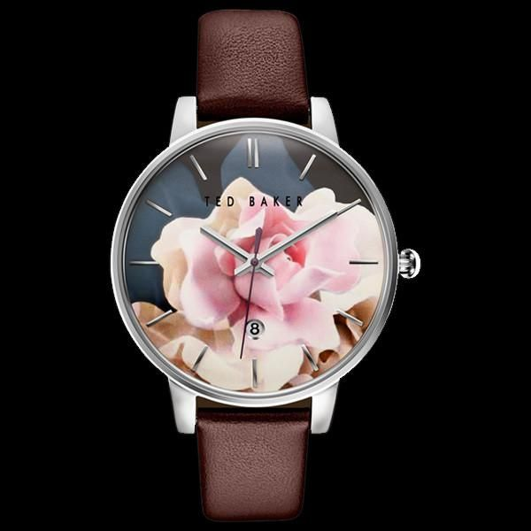 1be2dc203 Ted baker kate silver rose floral dial brown leather watch