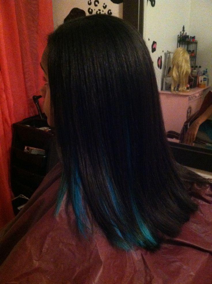 Blue Peekaboo Highlight On Black Hair Hair Pinterest