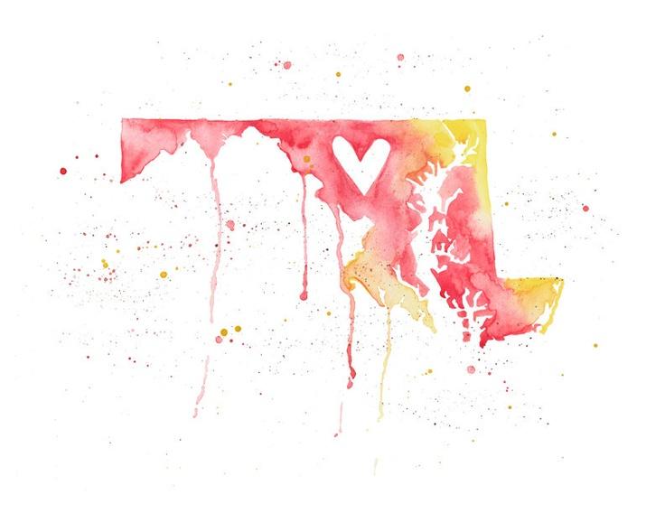 5x7 Maryland Love by poppyandpinecone on Etsy