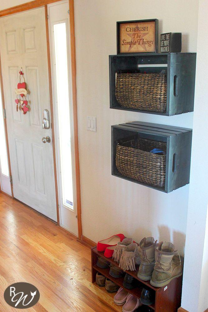 DIY Mudroom Storage Crates---Add Coat hooks on the side for Scarfs, Keys, etc???