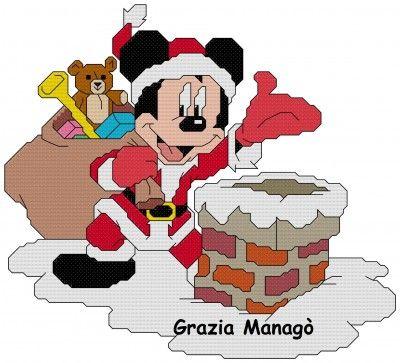 Topolino vestito da Babbo Natale sul comignolo - Le crocette di Grazia
