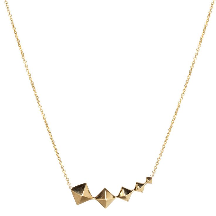 Zoe Chicco 14K GRADUATED SPIKES NECKLACE $385 - 14K Yellow Gold, 14K Rose Gold, 14K White Gold