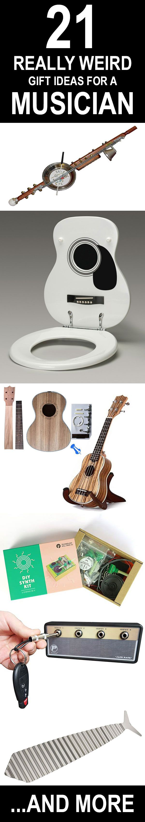 21 really weird gift ideas for a musician. Guitar roilet seats, stumpf sticks, build your own DIY synth, and much more.