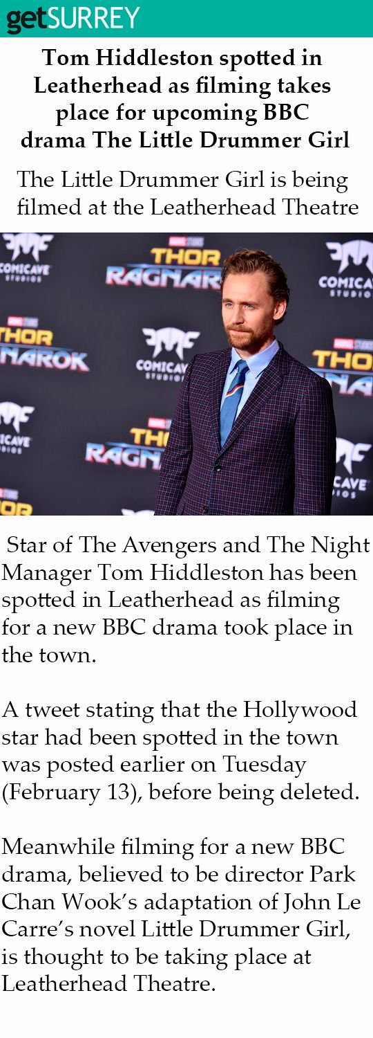 #TomHiddleston spotted in Leatherhead as filming takes place for upcoming #BBC drama #TheLittleDrummerGirl. Link: https://www.getsurrey.co.uk/news/surrey-news/tom-hiddleston-spotted-leatherhead-filming-14286353