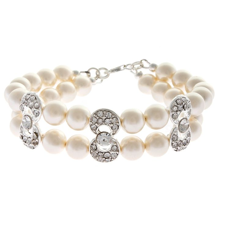 Coco bracelet - two strand bracelet with Swarovski pearls and diamante www.louloubelle.co.uk