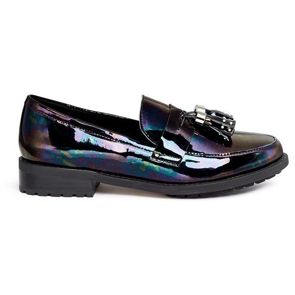 Pedder Red 'Hayden' oil slick patent leather penny loafers ($160) ❤ liked