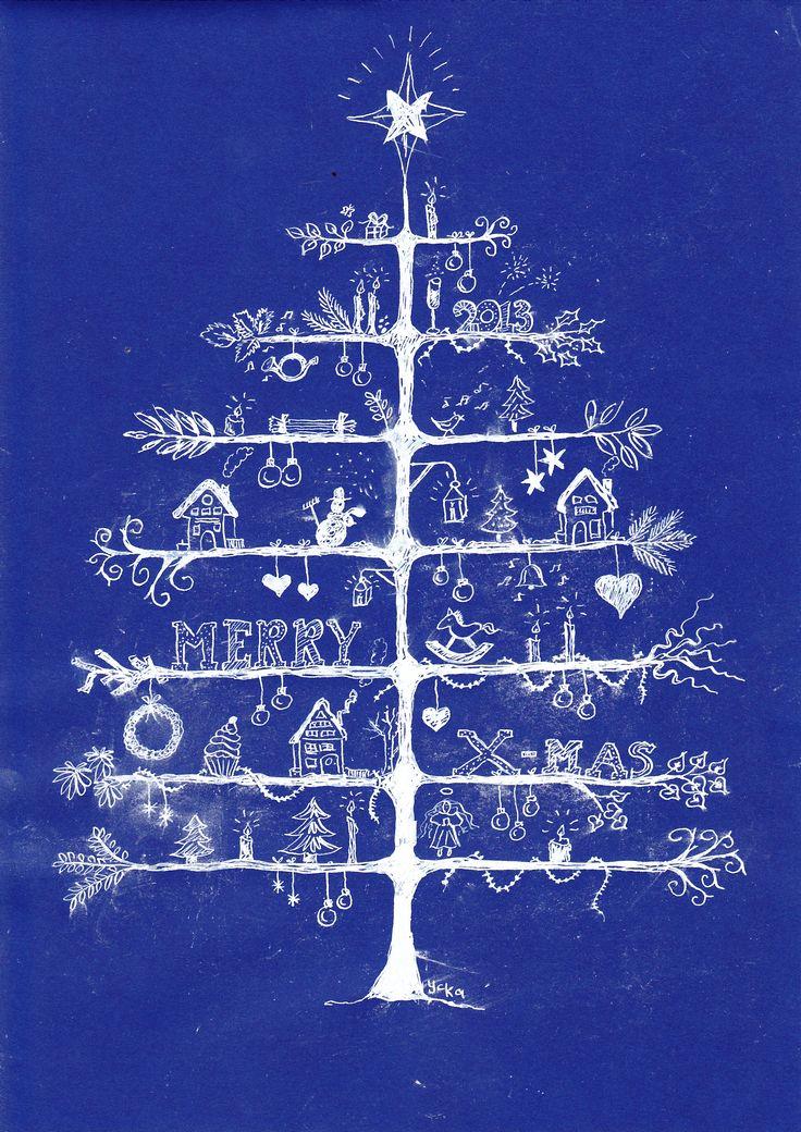 Kerstboom getekend met witte inkt op gekleurd papier. Dit idee is leuk voor de bovenbouw, groep 8 (Getekend door Yvonne).