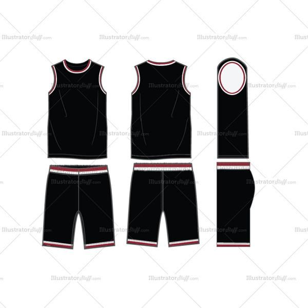 Download Fashion Flat Vector Template Of Men S Round Neck Basketball Uniform In Editable Vector Files Basketball Uniforms Design Fashion Design Jobs Fashion