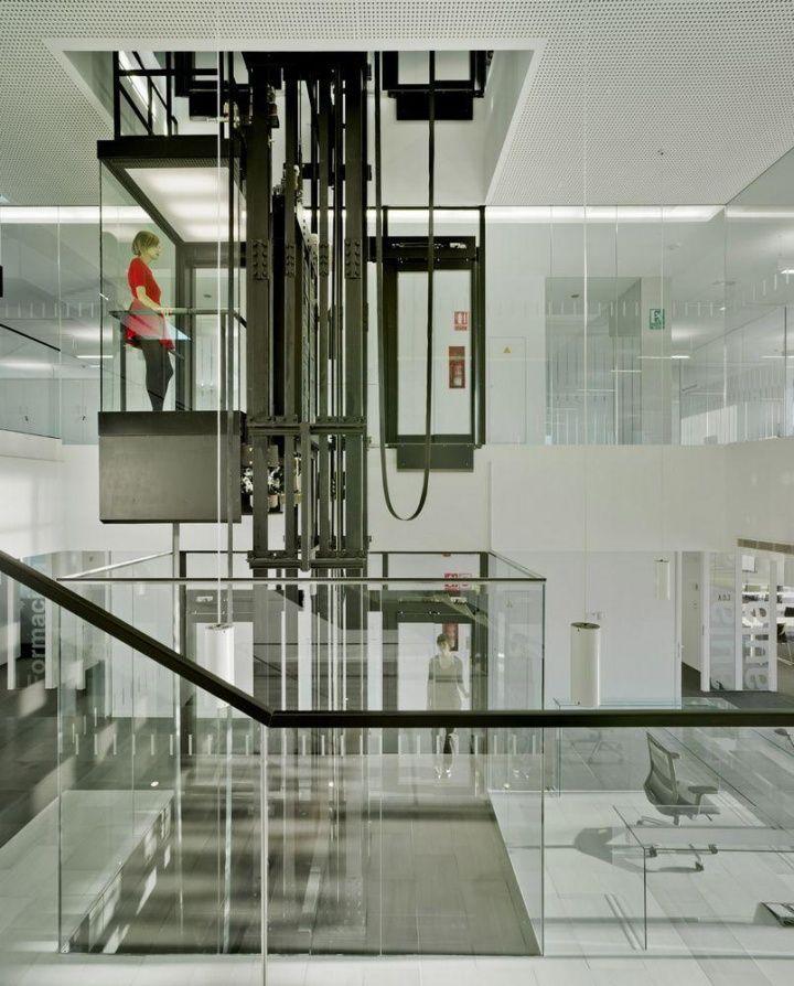 FEDA Headquarters by Cor & Asociados, Albacete – Spain open elevator shaft