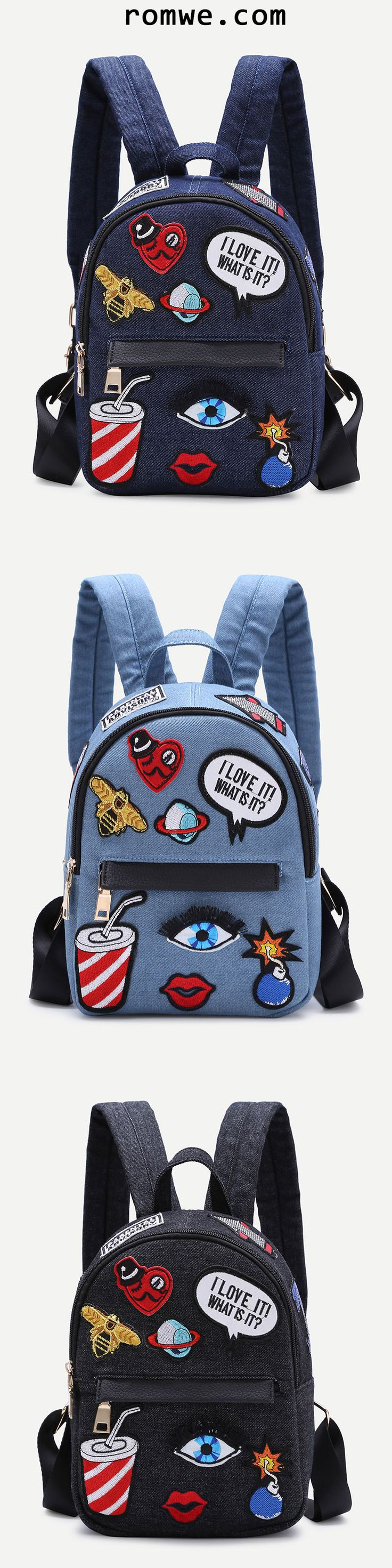 Zip Front Cartoon Patch Mini Backpack