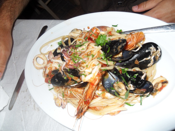 Seafood linguini on the seafront at a taverna in Almyrida, western Crete. Bliss!