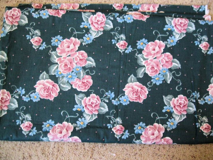 "$9.99 3 yds Vintage Floral Teal Pink Rose Fabric Polyester & Cotton Blend  44"" Wide by BrightEyesKreations on Etsy"