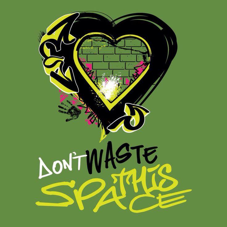 t-shirt design for @infinitecanvas by Inkling About Design www.inklingaboutdesign.com #dontwastethisspace #streetart #graffiti #illustration #heart #tshirt
