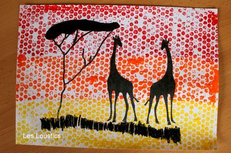 Silhouetten - Afdrukken maken met bubbeltjesplastic en beplakken met silhouetten