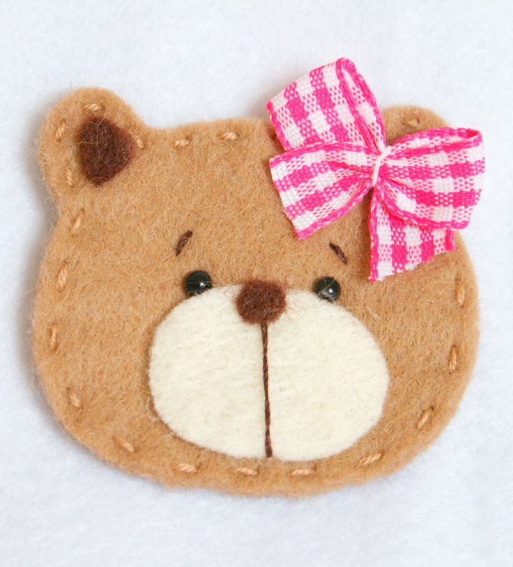 Handmade Pet Felt Applique Baby Girl Bear