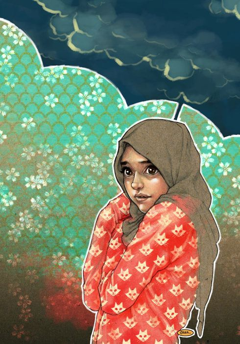 HIJAB GIRL by *solitarium #illustration