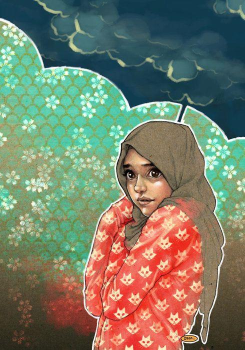 HIJAB GIRL by *solitarium #illustration