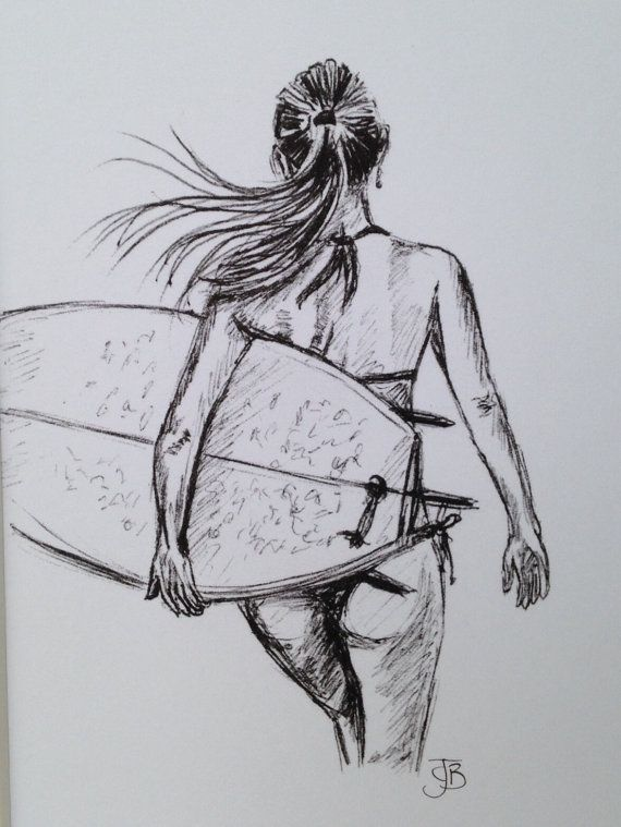 Mounted signed print of biro sketch surfer girl surf art