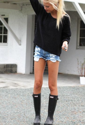 perfect for a warm rainy day! | Denim shorts, rain boots and black sweater