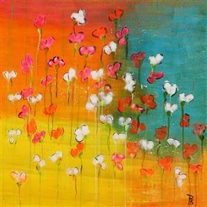 Lauritz.com - Moderne dekorativt maleri - Pia Birgitte Stenderup. 'Spring flowers', akryl på lærred - DK, Vejle, Dandyvej