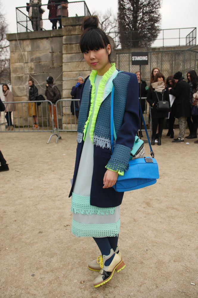 Susie Bubble wearing dress and coat by me on WGSN Blog.