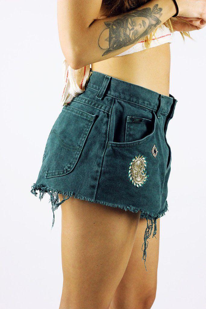 Custom Vintage Lee Shorts Forest S-M