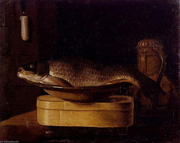 'Nature morte d une carpe dans un bol placé sur une boîte en bois' de Sébastien Stoskopff (1597-1657, France)