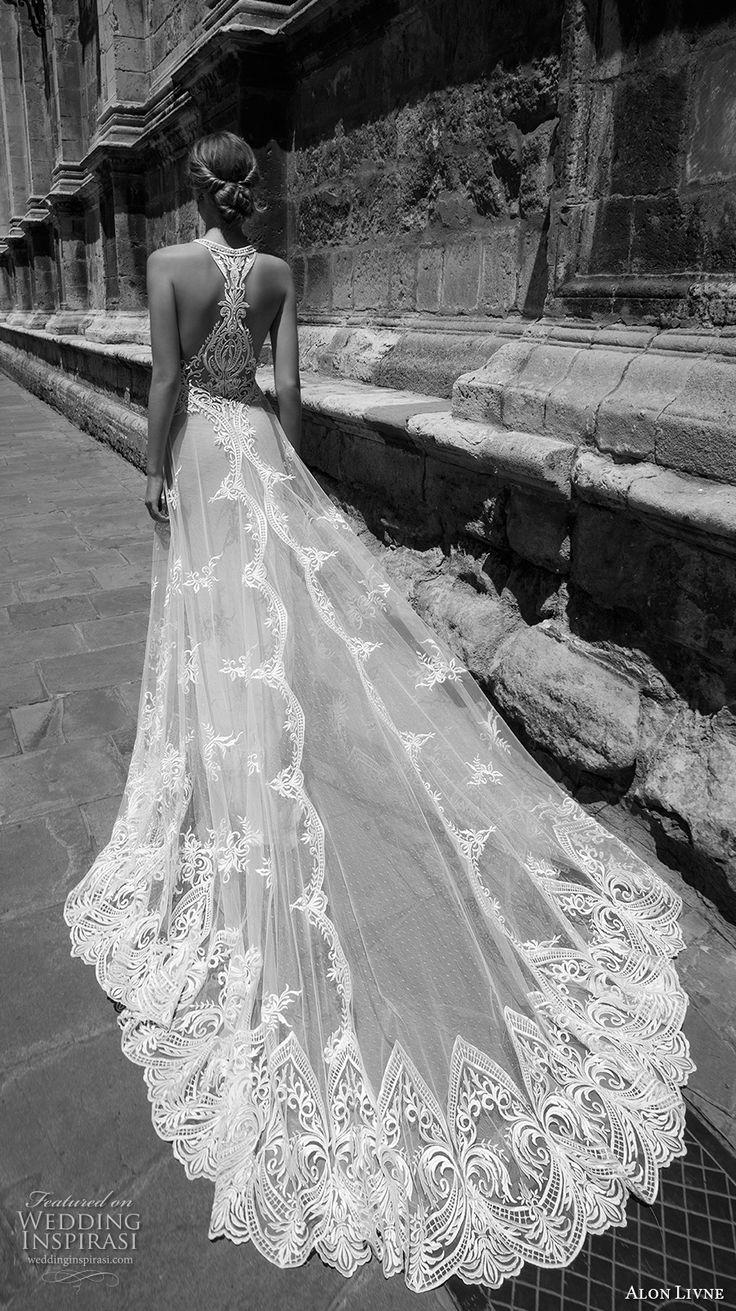 alon livne 2017 bridal sleeveless halter neck heavily embroidered bodice tulle lace skirt romantic a  line wedding dress rasor back chapel train (taylor) bv #bridal #wedding #weddingdress
