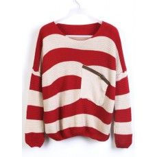 Red Stripes Loose Sweater with Pocket.