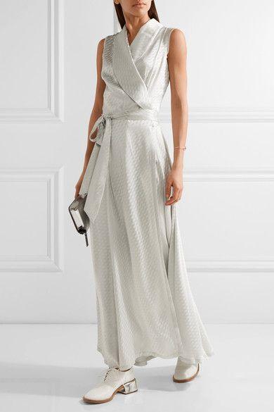 Maison Margiela - Satin-jacquard Wrap Maxi Dress - Silver - IT42