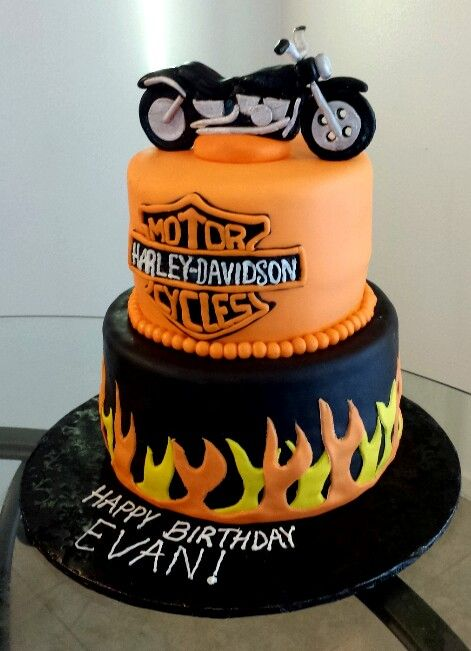 Harley Davidson cake with edible motorcycle