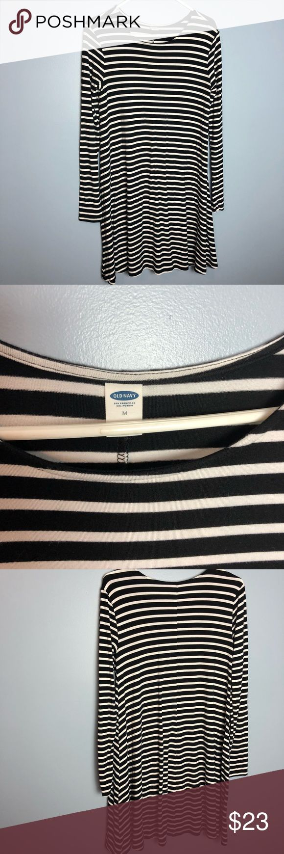 """Black and White Striped Long Sleeve Dress This is a dress from Old Navy that is black and white striped and reaches mid thigh (I am 5'5"""" for reference). Very soft material that is breathable and perfect for layering Dresses Midi"""