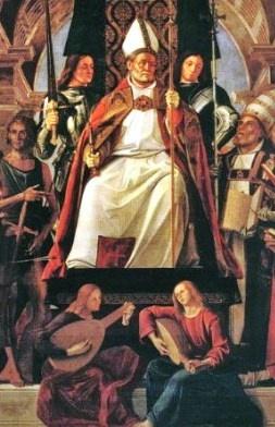 Alvise Vivarini (1445-1505) Altarpiece of St Ambrose, 1503, Santa Maria Gloriosa dei Frari, Venezia