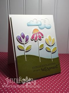 Congrats on Retirement card by Jennifer Hay - Paper Smooches - Dainty Flowers die, Curly Clouds die